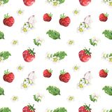 Strawberry and butterfly pattern royalty free illustration