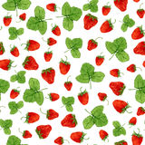 Watercolor seamless pattern with strawberries and leaves on the white background. Hand drawn illustration for eco product d Royalty Free Stock Photos