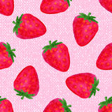 Watercolor seamless pattern with strawberries on pink background . Hand drawn design. Vector summer fruit illustration Stock Photography