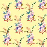 Watercolour floral pattern, delicate flowers, yellow, blue and pink flowers, greeting card template. Watercolor seamless pattern of summer flowers stock illustration