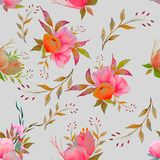 Watercolour floral pattern, delicate flowers, yellow, blue and pink flowers, greeting card template. Watercolor seamless pattern of summer flowers royalty free illustration