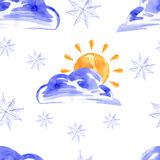 Watercolor seamless pattern with sun and snow. Vector Vector Illustration
