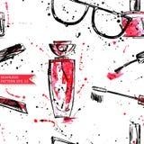 Watercolor seamless pattern with sunglasses, mascara, nail polish. Vector Vector Illustration