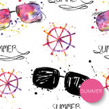 Watercolor seamless pattern with sunglasses and a steering wheel. Vector background Stock Illustration