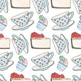 Watercolor seamless pattern. Sweet life Stock Photos