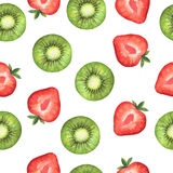 Watercolor seamless pattern with sweet slices of strawberry and kiwi. Royalty Free Stock Photo