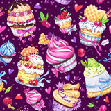Watercolor seamless pattern with tasty desserts, cakes and berries. Colorful summer background. Original hand drawn Royalty Free Stock Photography