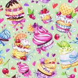 Watercolor seamless pattern with tasty desserts, cakes and berries. Colorful summer background. Original hand drawn Stock Photography