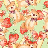 Watercolor seamless pattern with Teddy bear Stock Photos