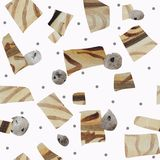 Seamless pattern of textural geometric shapes imitating wood and stones on a white background. vector illustration