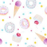 Watercolor Seamless Pattern Texture Of Fresh Sweets And Dessert Stock Image