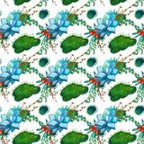 Watercolor seamless pattern texture - succulents plants clip art. Perfect for Wedding invitation, greeting card, postcard, poster, textile, print, cover etc Stock Photo