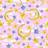 Watercolor seamless pattern on the theme of a children`s illustration of a good night, with the moon, month and stars, sleeping st. Ars, with soft toys in the Vector Illustration
