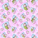 Watercolor seamless pattern on the theme of a children`s illustration and a good night with a small child, around the yellow stars stock illustration