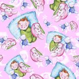 Watercolor seamless pattern on the theme of a children`s illustration and a good night with a small child, around the yellow stars royalty free illustration