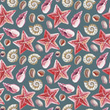 Watercolor seamless pattern of topical shell, starfish and pebble Royalty Free Stock Photos