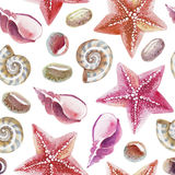 Watercolor seamless pattern of topical shell, starfish and pebble Stock Photography
