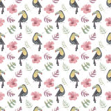 Watercolor seamless pattern with toucans, tropical flowers and leafs on white background Stock Photo