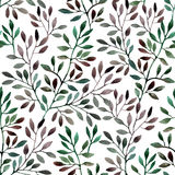 Watercolor seamless pattern with tree branches. Royalty Free Stock Images