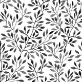 Watercolor seamless pattern with tree branches. Royalty Free Stock Photography