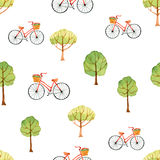 Watercolor seamless pattern, trees and bike. Stock Photography