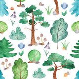Watercolor seamless pattern with trees, pines, firs, flowers. royalty free illustration