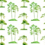 Watercolor seamless pattern with trees royalty free illustration
