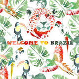Watercolor seamless pattern.Tropical background. Colorful poster Welcome to Brazil Royalty Free Stock Photos