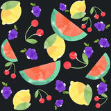 Watercolor seamless pattern of tropical fruits. Stock Photo