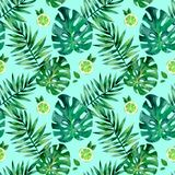 Watercolor seamless pattern with tropical leafs. Exotic fresh pattern isolated. Watercolor seamless pattern with tropical leafs vector illustration