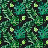 Watercolor seamless pattern with tropical leafs. Exotic fresh pattern isolated on black background. Watercolor seamless pattern with tropical leafs stock illustration