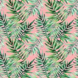 Watercolor seamless pattern with tropical leafs. Exotic fresh pattern isolated on pink background. Watercolor seamless pattern with tropical leafs vector illustration