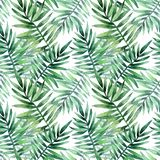 Watercolor seamless pattern with tropical leafs. Exotic fresh pattern isolated on white background. Watercolor seamless pattern with tropical leafs royalty free illustration