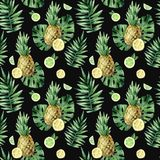 Watercolor seamless pattern with tropical leafs, pineapple and citrus fruits. Watercolor seamless pattern with tropical leafs, pineapple and citrus fruits stock illustration