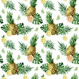 Watercolor seamless pattern with tropical leafs, pineapple and citrus fruits. Watercolor seamless pattern with tropical leafs, pineapple and citrus fruits vector illustration
