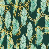 Watercolor seamless pattern tropical leaves and golden chain, jewelry. Summer glamour print  for the textile fabric and wallpapers on color background vector illustration