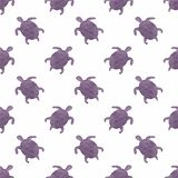 Watercolor seamless pattern with turtles on the. White background, aquarelle. Vector illustration. Hand-drawn decorative element useful for invitations Royalty Free Stock Images