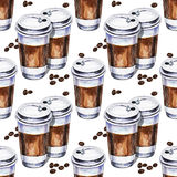 Watercolor seamless pattern with two disposables cups of coffee Stock Photo