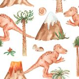 Watercolor seamless pattern with tyrannosaur, palm trees, mountains. royalty free illustration