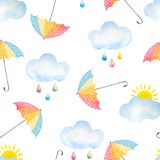 Watercolor background with umbrellas Stock Photos