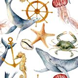 Watercolor seamless pattern with underwater animals. Hand painted whale, jellyfish, starfish and helm illustration