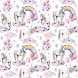 Watercolor seamless pattern with unicorns and rainbow. Hand painted magic horses, clouds, stars and air ballon  Stock Photos