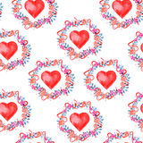 Watercolor seamless pattern for Valentine's day. With flower wreath and heart Stock Photography