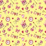 Watercolor seamless pattern for Valentine`s day with heart, key, lock, bow, envelope, love, candy, arrow, flower vector illustration