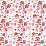 Watercolor seamless pattern for Valentine`s day. stock illustration