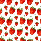Watercolor seamless pattern with vector red strawberries  on the white background. Hand drawn illustration for eco product design, Royalty Free Stock Photo