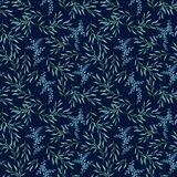 Watercolor seamless pattern of vegetable elements, blue-green twigs with leaves on a dark background.
