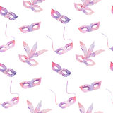 Watercolor seamless pattern with venetian carnival masks Stock Photography