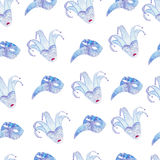 Watercolor seamless pattern with venetian carnival masks Royalty Free Stock Photos