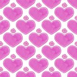 Watercolor seamless pattern with victorian heart Stock Photo
